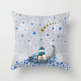 Snowman with sparkly blue stars Throw Pillow