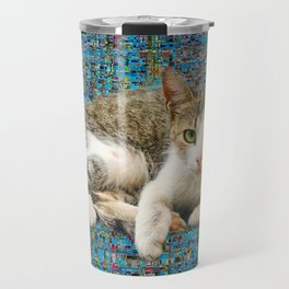 Cute cat on abstract background Travel Mug