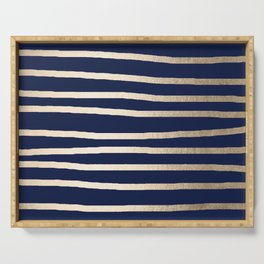 Drawn Stripes White Gold Sands on Nautical Navy Blue Serving Tray