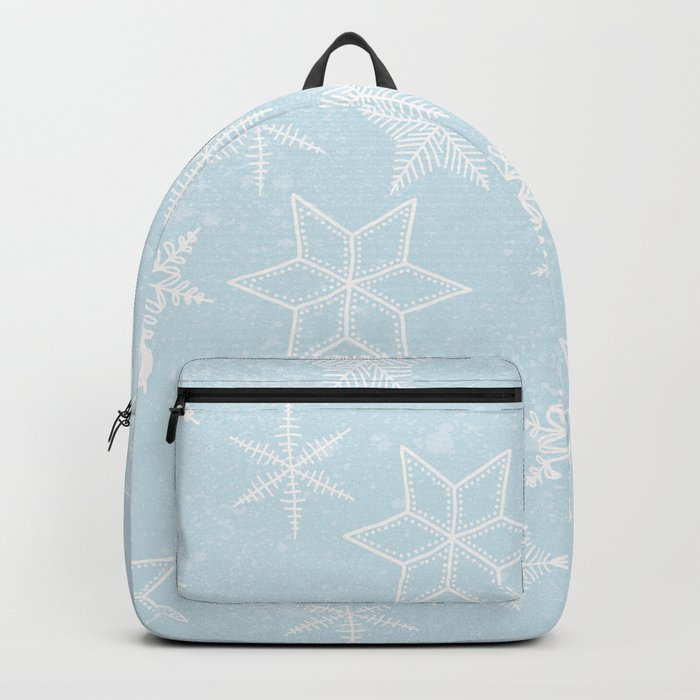 Snowflakes on light blue background Backpack