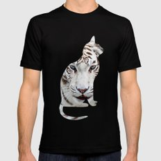 White cats. Black Mens Fitted Tee LARGE
