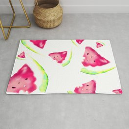 watermelon summer fruit vegan food art love pink été pastèque Rug