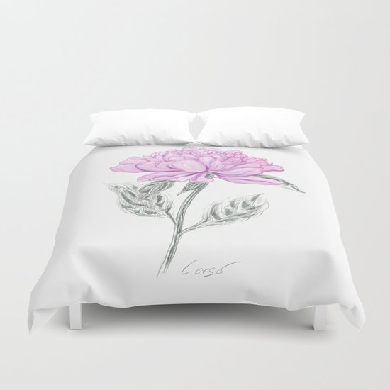 Peony 02 Botanical Flower * Symbolism: Love, Marriage, Partnership, Romance & Loyalty  Duvet Cover