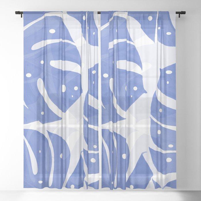 Large Blue Leaves White Background #decor #society6 #buyart Sheer Curtain