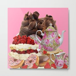 PINK CHOCOLATE & STRAWBERRY TEA TIME Metal Print
