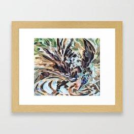 Bathing Grackle Framed Art Print