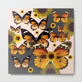 MODERN ART COFFEE & CREAM COLORED BROWN BUTTERFLIES Metal Print