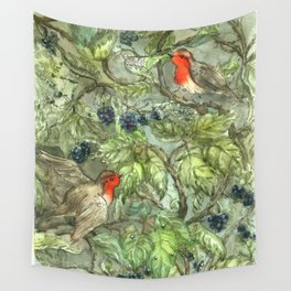 Robins in Blackberry Bush Wall Tapestry