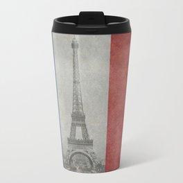 Flag of France with Eiffel Tower Travel Mug