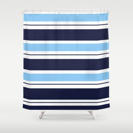 Blue Navy and Turquoise Stripes Shower Curtain