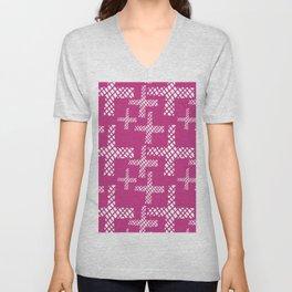 Neon pink white geometrical hand painted argyle crosses Unisex V-Neck