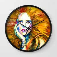zodiac Wall Clocks featuring Leo Zodiac by Slaveika Aladjova