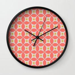 Living coral circle geometric Wall Clock