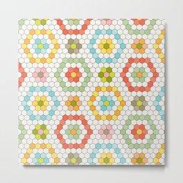 Hexagon Tile Pattern Metal Print
