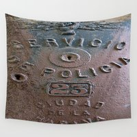 police Wall Tapestries featuring Police Call Box by Ethna Gillespie