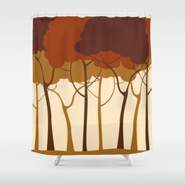 Sepia forest Shower Curtain