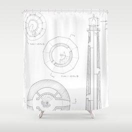 Absecon Lighthouse Blueprint Shower Curtain