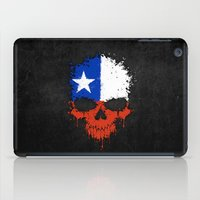 chile iPad Cases featuring Flag of Chile on a Chaotic Splatter Skull by Jeff Bartels