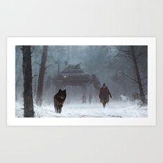 winter walk through the woods Art Print