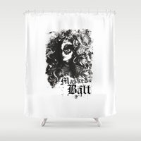 dragon ball Shower Curtains featuring BALL by TOO MANY GRAPHIX