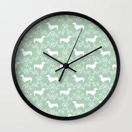 Dachshund mint florals pet portrait dog art dachsie doxie pet art dog breeds Wall Clock
