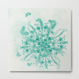 teal bouquet and butterflies Metal Print
