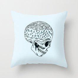 Skull Rain Throw Pillow