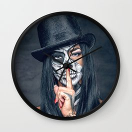 Dia De Los Muertos Day of the Dead Sugar Skull Model Makeup Ultra HD Wall Clock
