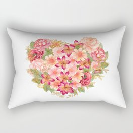 Watercolor floral heart Rectangular Pillow