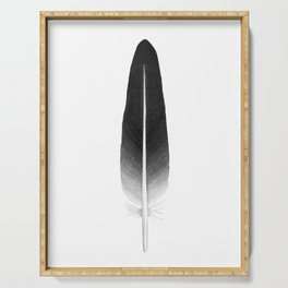 black feather, watercolor Serving Tray