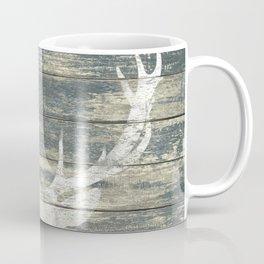 Rustic White Deer Silhouette Teal Wood A311 Coffee Mug