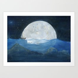 The whale and the Moon Art Print