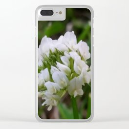 Up close white clover Clear iPhone Case