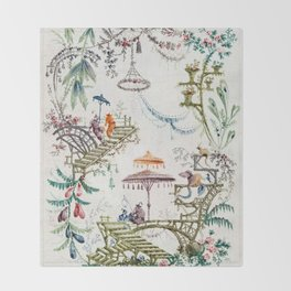 Enchanted Forest Chinoiserie Throw Blanket