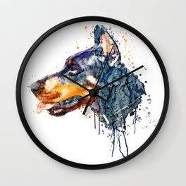 Doberman Head Wall Clock