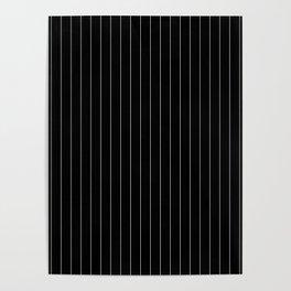 Black White Pinstripes Minimalist Poster