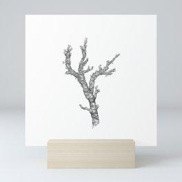 Red coral - corallium rubrum  - black and white Mini Art Print