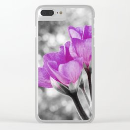 Fuchsia fLOWERS Pop Of Color Clear iPhone Case