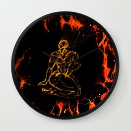 Breathing in Red Fire Wall Clock