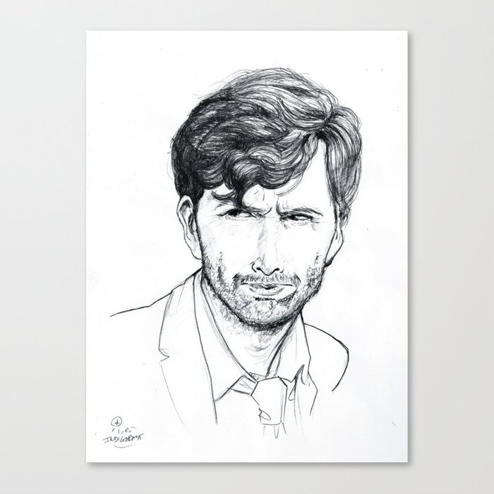 David Tennant as Broadchurch's Alec Hardy (or Gracepoint's Emmett Carver) Etching Canvas Print
