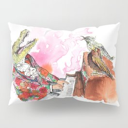 Piano Playing Alligator in a Floral Blazer, with Backup Singing Birds Pillow Sham