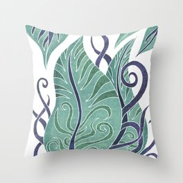 Leaf - Exotic Boho Leaf Pattern 01- Colorful, Modern, Tropical Art - Sea, Spectra, Victoria Throw Pillow