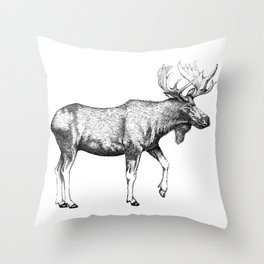Bull Moose - Pen and Ink Throw Pillow