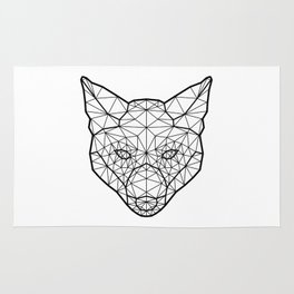 Geometric / Low Poly Fox (Black) Rug