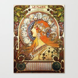 Alphonse Mucha La Plume Zodiac Canvas Print