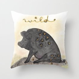 Find your Wild Side - Pig Illustration Throw Pillow