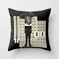 gladiator Throw Pillows featuring Ga Ga Gladiator by Studio Judith