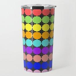 Stylized round multi-colored flowers (dark background) Travel Mug