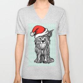 Christmas Dog In Santa Clause Hat Unisex V-Neck