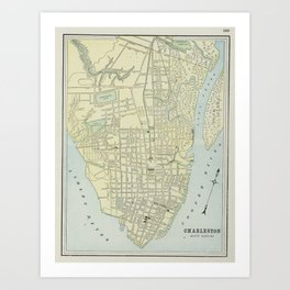 Vintage Map of Charleston SC (1901) Art Print